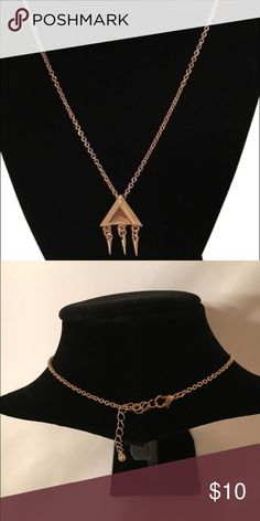 "New! Mango MNG Gold Tone Necklace Trendy slim chain necklace with triangular pendant by Mango. Chain and lobster fastening. 17"" chain. NEW with tags Mango Jewelry Necklaces"