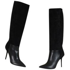 Pre-owned Burberry Carnwath Pointy Toe Knee High Black Boots (22,810 PHP) ❤ liked on Polyvore featuring shoes, boots, black, knee-high boots, black leather boots, black platform boots, knee high leather boots, black boots and knee length boots