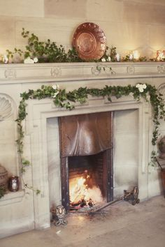 Fireplace at the entrance