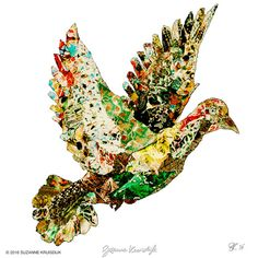 Bird illustration new years wish, recycled paper. illustration by Suzanne Kruisdijk on Etsy