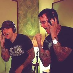 M Shadows and the Rev ~ Avenged Sevenfold. I remember this from an outtakes video. YOU ARE THE FUTURE!!!! Lol!