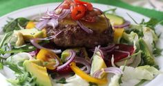 Glutenfree burger recipe  Tip for delicious no-bun version for a healthy burger, amazing for summer.  Recipe can be found at: http://mangofique.com/2015/02/tip-burger/