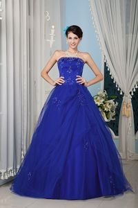 A-line Blue Tulle Sweet Sixteen Quinceanera Dresses with Beading