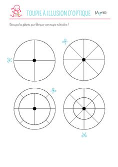 Toupie-a-illusion-d-optique. Science Experience, Paper Spinners, Diy For Kids, Crafts For Kids, Diy Paper, Paper Crafts, Hanukkah Crafts, Spinning Top, Art Template