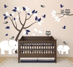 Nursery Decor with Vinyl Wall Decals of Elephants, Tree, Owls, Birds, and Butterflies