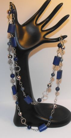 Long Necklace  Blue  Wire wrapped  40 in long by Suzyq203 on Etsy, $20.00