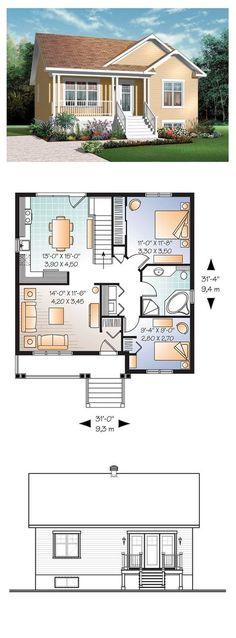 Bungalow House Plan 76183 | Total Living Area: 911 sq. ft., 2 bedrooms & 1 bathroom. #bungalow #houseplan: