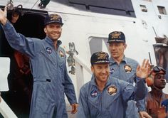 """April 17, 1970: The safe return of Apollo 13 astronauts after their lunar-landing mission encountered catastrophic technical failures.  From left to right, Lunar Module pilot, Fred W. Haise, Mission Commander, James A. """"Jim"""" Lovell and Command Module pilot, John L. """"Jack"""" Swigert (1931-1982)."""