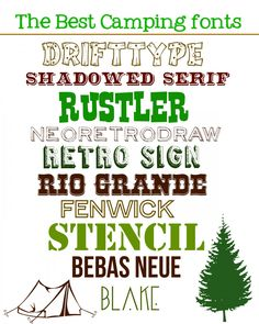 round up of camping fonts!