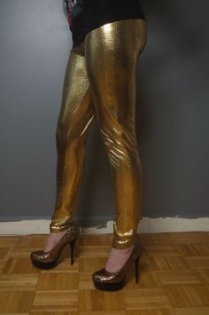 Sexy GOLD METALLIC SNAKE PYTHON REPTILE THREADS LEGGINGS STRETCH Tights S/M NWT #TrueRock
