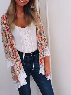Stylish Laciness Collarless Long Sleeve Floral Print Kimono For Women