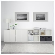 EKET Storage combination with feet, white/light blue, dark blue - white/light blue/dark blue - IKEA Ikea Eket, Ikea Hack, Ikea Nordli, Ikea Inspiration, Home Living Room, Storage Spaces, Shelving, Cabinet, Decoration