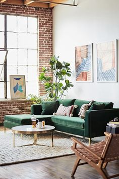 Anthropologie's New Spring Collection Has Landed–Browse The 3 Gorgeous Looks They've Created – Home Office Design İdeas Living Room Red, Living Room Interior, Rugs In Living Room, Living Room Designs, Living Room Decor, Living Room Brick Wall, Cozy Living, Muebles Home, Home Design