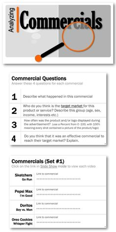 * Show the commercials to your students using the links provided * Students will answer a series of questions for each commercial * I have shown/tested these commercials with many classes * They are exciting, funny and definitely grab students' attention. A best seller that is now available for free to teachers!