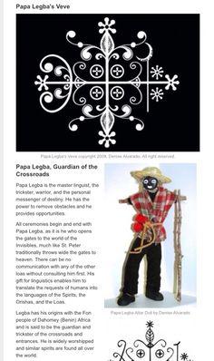 Legba/Papa Legba (Vodun equivalent of Orisha Elegbara) and his attributes (Haiti) Papa Legba, African Mythology, World Mythology, Voodoo Hoodoo, Voodoo Spells, Voodoo Tattoo, New Orleans Voodoo, Orisha, Black Magic