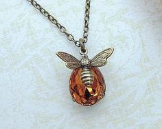 Bee Necklace Honey Bee Necklace with Swarovski Topaz by LeChaim