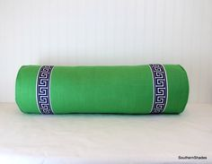 One Emerald Green Linen Bolster with Navy/White or Black/White Greek Key Trim and Self Cording by SouthernShades on Etsy https://www.etsy.com/listing/262249305/one-emerald-green-linen-bolster-with