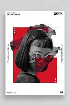 Glasses Poster Design Inspiration by Zeka Design Minimalist Graphic Design Poster Ideas - Graphicjoss Portfolio Graphic Design, Graphic Design Flyer, Graphic Design Projects, Graphic Design Trends, Graphic Design Typography, Creative Typography, Geometric Graphic Design, Design Ideas, Graphic Designers