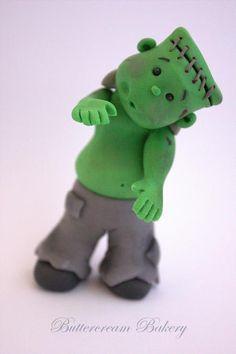 Halloween Frankenstein Boy Cake Topper by ButtercreamBakeryUK modelado polymer clay porcelana fria masa flexible pasta francesa fimo pasta goma pun paste