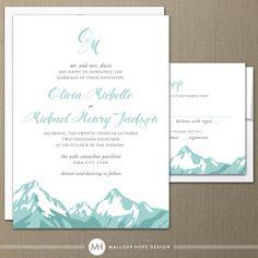 Mountain Range Modern Wedding Invitation & RSVP - by ©MalloryHopeDesign