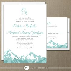 Mountain Range Modern Wedding Invitation & RSVP - by ©MalloryHopeDesign