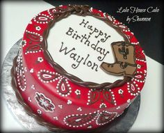 Red Bandana Western Cowboy Boot Rope Lake House Cake by Shannon
