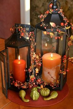 20 Fall Decorating Ideas, Expert Tips for Making Halloween Decorations and Thanksgiving Centerpieces – Thanksgiving Decorations – Grandcrafter – DIY Christmas Ideas ♥ Homes Decoration Ideas Fall Lanterns, Lanterns Decor, Fall Candles, Candle Lanterns, Orange Candles, Ideas Candles, Decorative Lanterns, Cute Candles, Hurricane Lamps