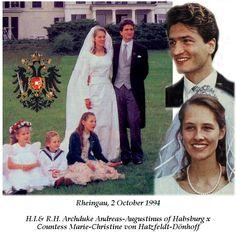 02.10.1994 : mariage de l'archiduc Andréas-Augustinus de Habsbourg et de la comtesse Marie-Christine von Hatzfeldt Dönhoff