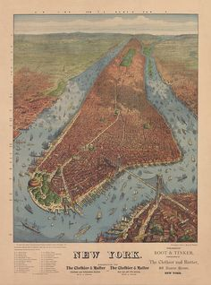 Port of NY: birds eye view Aerial view of Manhattan New York City, Including Trinity Church...etc 1879.  NY0060 Vintage Print Art Poster Map