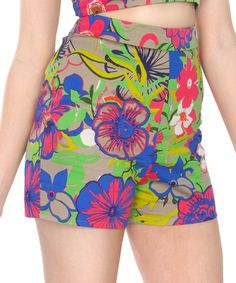 Another great find on #zulily! Green Floral Amelia High-Waist Shorts - Women & Plus by Tatyana #zulilyfinds