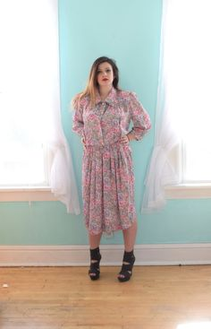 bbc50075e83 Vintage 1980s Andrea Gayle Leslie Fay Tan Pink and Blue Floral Print Dress  Sheer Casual Knee Length XLarge XL XXLarge XXL Plus Size 18 20 1x