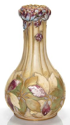 Paul Dachsel Turn Teplitz gourd vase molded with chrysanthemum flowers, 11.5 in. high. Marked with the raised Paul Dachsel Turn Teplitz circular logo, Made in Austria, 111.