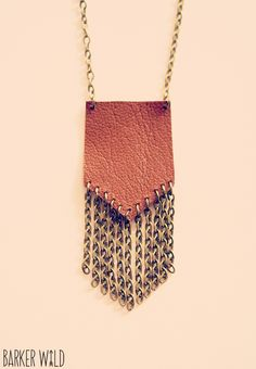 Leather and bronze chain gypsy pendant