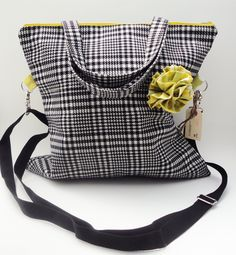 Large Handbag Black and White Houndstooth by sugarandcandy on Etsy