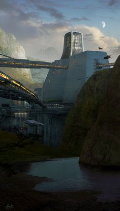 Outpost by ~guitfiddle | Sci-Fi Futuristic architecture vehicles aircraft