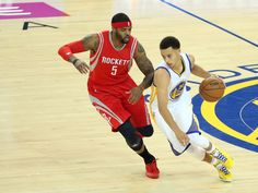Game 1 - Warriors 110, Rockets 106:Golden State Warriors guard Stephen Curry (30) drives to the basket against Houston Rockets forward Josh Smith (5) in the first quarter.  Kelley L Cox, USA TODAY Sports