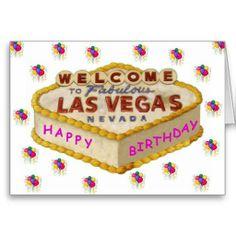 Las Vegas Happy Birthday Cake PINK Card