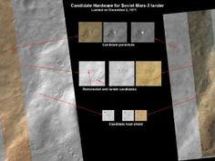 マルス3号らしき物体のうち、特に目立つのは直径7.5メートルの白い円だ。最大まで広がったときの直径が11メートルだった同機のパラシュートではないかと見られる。このほかにも逆推進ロケットや着陸機本体、大気圏突入時の防熱シールドらしき物体がMROの画像には写っている。これらの形状は、かつてマルス3号の開発に携わったロシアの技術者や科学者たちの証言とも一致したという。