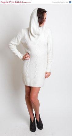 50 OFF SALE 1980's White Sweater Dress  Vintage Cream by mijumaju, $26.00
