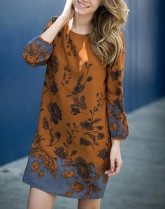 [contemporary] boho midi shift dress in rust - shophearts - 6