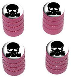 """(4 Count) Cool and Custom """"Diamond Etching Black Skull Wearing Gas Mask Top with Easy Grip Texture"""" Tire Wheel Rim Air Valve Stem Dust Cap Seal Made of Genuine Anodized Aluminum Metal {Pastry GMC Pink and White Colors - Hard Metal Internal Threads for Easy Application - Rust Proof - Fits For Most Cars, Trucks, SUV, RV, ATV, UTV, Motorcycle, Bicycles} mySimple Products http://www.amazon.com/dp/B00ZE3DULY/ref=cm_sw_r_pi_dp_pHDEwb18SJBQ0"""