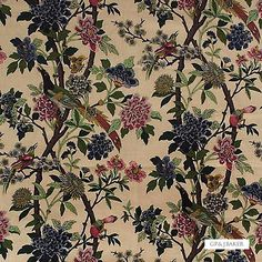 Gorgeous fabric and the ideal solution for drapery and upholstery from the 'Hydrangea Bird' design style range by GPJ Baker Pink Fabric, Floral Fabric, Gp&j Baker, Biscuit Color, Wallpaper Size, Fabric Suppliers, Fabric Houses, Bird Patterns, Drapery Fabric