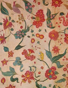 1600s cotton embroidered with silk, flora & fauna From Gujarat, India