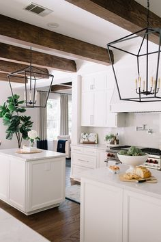 """White kitchen I mean, we can see many types of kitchens come and go, but white kitchens are and will always be a classic choice Cabinets are painted in """"Benjamin Moore OC-17 White Dove"""" #whitekitchen"""
