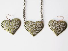 Necklace and Earring Set Brass Heart Necklace and by artsix