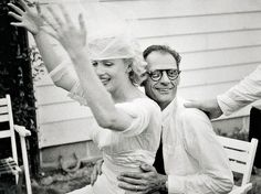 Marilyn and Arthur Miller at their wedding reception, 1 July 1956.
