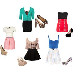 Outfits with crop tops, high waisted skirts/shorts, and heels. created on Polyvore