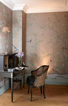 Beautiful painted wallpaper by De Gournay