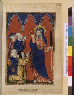Saint Jacques le Majeur et madame Marie San Giacomo, Medieval Books, Plantagenet, Medieval Clothing, Gothic Art, 14th Century, Illuminated Manuscript, Madame, Cloak
