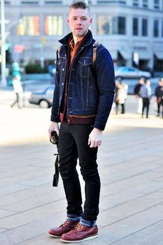 Nice style with Red Wing inch Moc Toe Mens Boots Fashion, Denim Fashion, Mens Lace Up Boots, Estilo Denim, Moda Blog, Red Wing Boots, Expensive Clothes, Mein Style, Denim Jacket Men